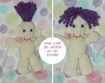 Purple Hair Troll Doll Crochet Troll Amigurumi Troll Doll Stuffed Toy Hair Can Be Worn Up Or Down