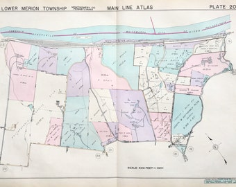 Merion Square 1937 Main Line Property Atlas Map Of Lower Merion Township Montgomery County Pennsylvania Philadelphia Country Club