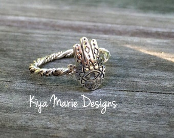 Hamsa hand evil eyeRing, twisted band stack ring, Sterling Silver Argentium Silver Stack Rings, meditation rings, stamped jewelry