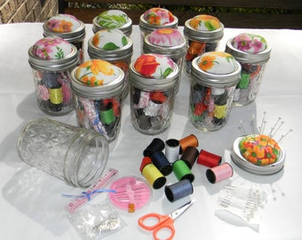 Floral Sewing Kit in a Jar