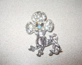 Rhinestone Poodle Pin Brooch Vintage Costume Jewelry #5326