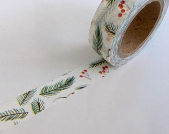 """CLEARANCE Christmas Washi Tape """"Winter Berries"""" 15mm x 10 Meters"""