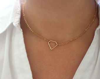 Gold Diamond Necklace, Too Cute Gag Gift, Don't Get It Twisted, Dainty Gold Choker Necklace, Dainty Gold Necklace, Gold Geometric Jewelry