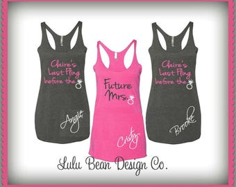 Bridesmaid Tank Tops Racerback Personalized Last Fling before the Ring Bachelorette Wedding Shirts Tees Maid of Honor