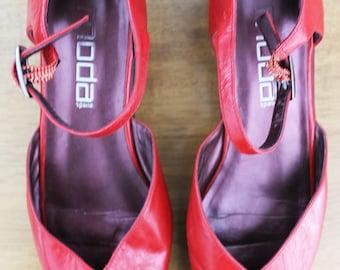 Retro Red Peep Toe Leather Sandals