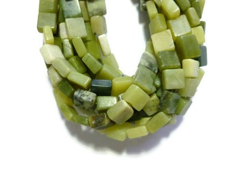 Green Serpentine - Flat Square Bead - 42 beads - 9mm x 9mm x 5mm - Full Strand - Shades of green stone - New Jade - Olive