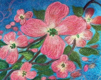 Beautiful textile art for your wall.  It is a silk painted mixed media piece.  Stylized pink dogwoods set against a blue sky.