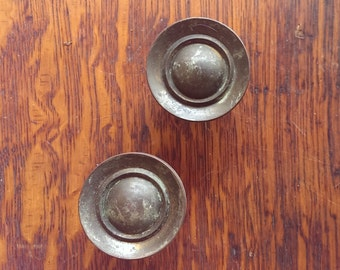Vintage Hardware: Heavy Solid Brass Round Drawer Or Door Pulls FREE  SHIPPING!
