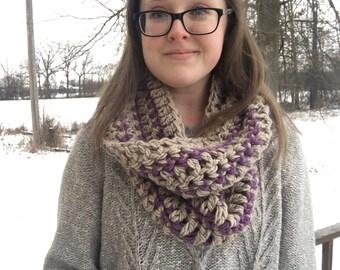 Crochet Striped Beige Purple Woman's Infinity Scarf VERY Soft