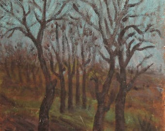 1966 Expressionist landscape oil painting signed