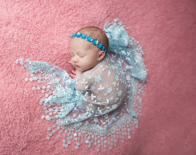 Turquoise Fringe Swaddle Wrap AND/OR Sequin Flower headband, newborn swaddle, newborn photo shoots, newborn wrap set, by Lil Miss Sweet Pea