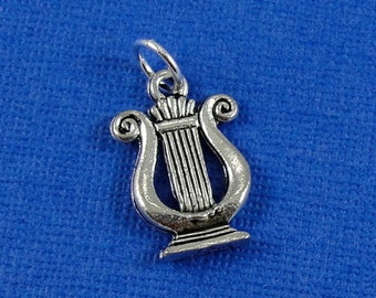 Musical Lyre Charm - Silver Plated Lyre Charm for Necklace or Bracelet