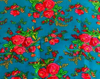 Blue floral fabric very vibrant colours