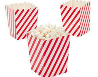 12 Mini Red and White Diagonal striped popcorn boxes treat favors