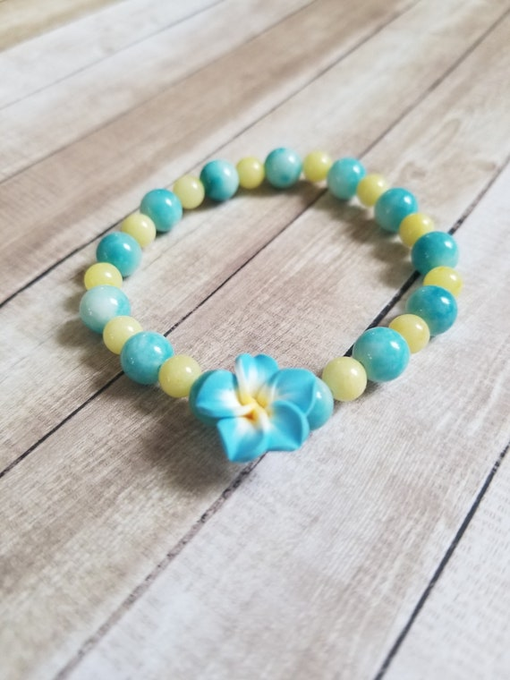 Spring Soiree: Reiki Attuned Blue Quartz and Jade Healing Bracelet /Boho Bracelet/Chakra Bracelet/Boho Stacking Bracelet/polymer clay charm