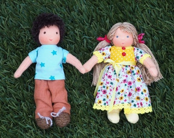Handcrafted Waldorf miniature doll set - a boy and a girl; 17.5 and 16 cm / 7 and 6 inches