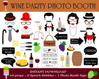 PRINTABLE Wine Photo Booth Props-Wine Tasting Props-Wine Party Props-Wine Photo Props-Wine Props-Winery Props-Vineyard Prop-Instant Download