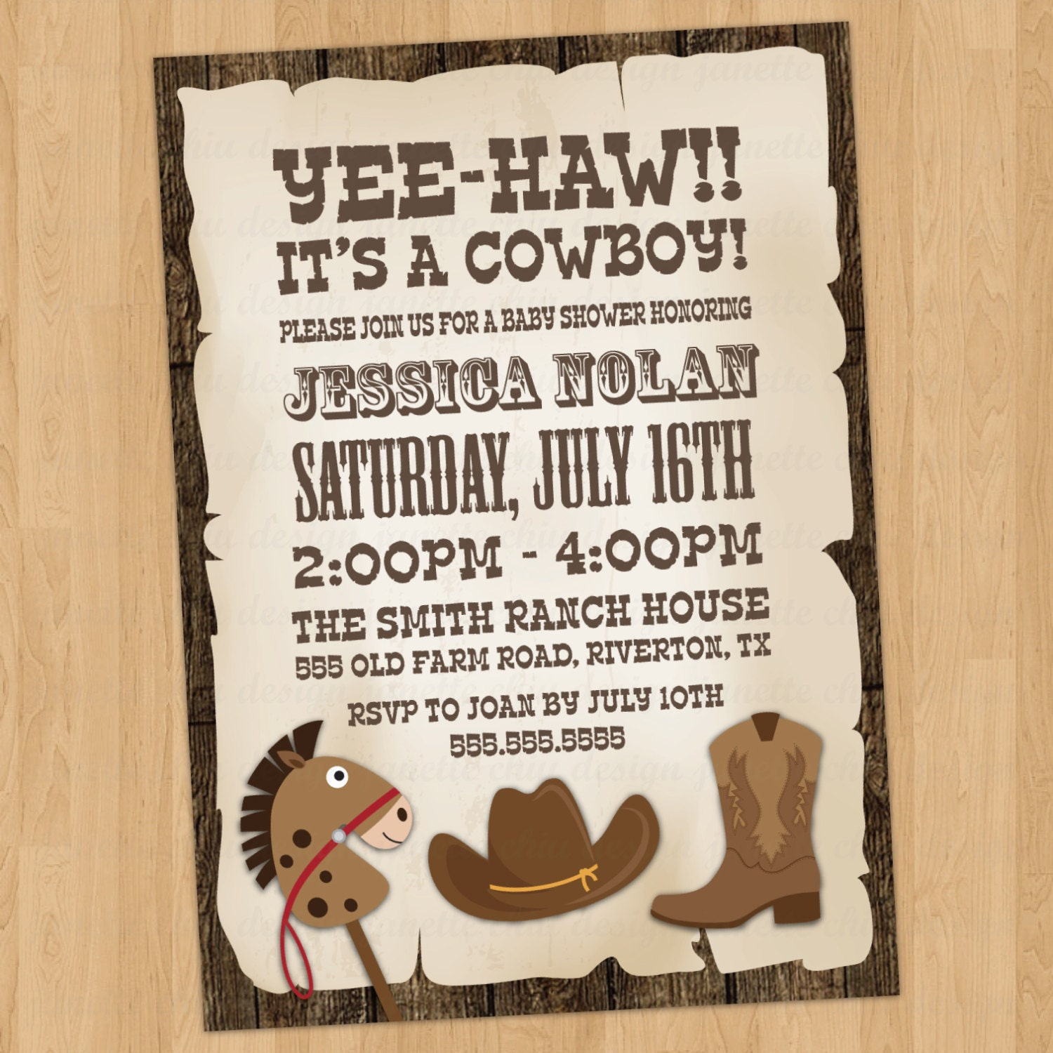 Cowboy Baby Shower Invitation Digital Printable or Printed