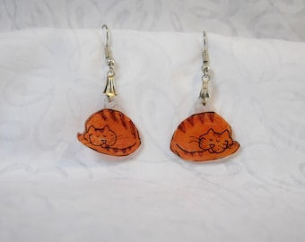 "sleeping orange kitty cat earrings, 100% recycled plastic ""shrinky dink"""