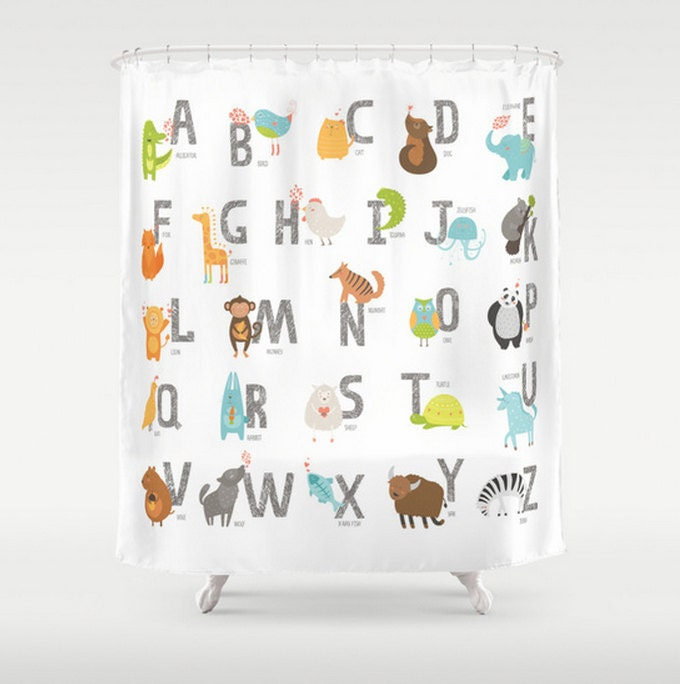 Kids Shower Curtain Animal Alphabet ABC