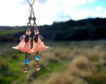 Peach Earrings - Flower Earrings - Woodland Earrings - Floral Earrings - Vintage Style - Nature Jewelry - Dangle Drop Earrings - Peach Gift.