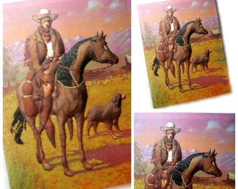 Quilted Art, Vintage Puffy 3D Fabric Art, Vintage Cowboy Fabric Wall Hanging, Quilted Cowboy Wall Decor, Vintage Fabric Art by Hart