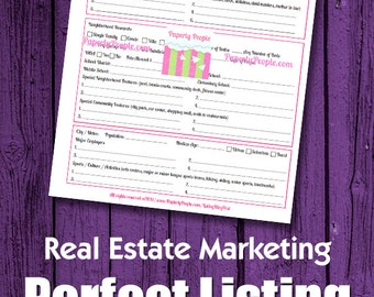 Real Estate Marketing - Perfect Listing Blog Post Worksheet, SEO, Real Estate Agent, Real Estate Farming, Realtor Marketing