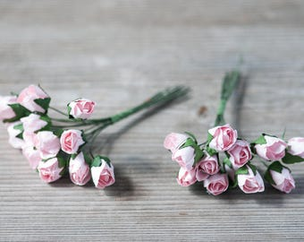 Tiny Pink Roses Decorative Craft Flowers DIY Invitation Flowers Head Crown Roses Fake Boutonniere Flowers Artificial Flowers Paper Roses