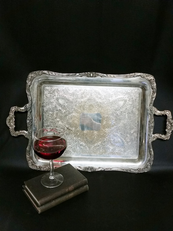 "Vintage Silver Plate Butler Serving Tray Vintage Wm Rogers Tray-""Ships International"" Email For Rates"