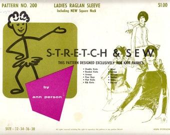 1960's Vintage Sewing Pattern Stretch & Sew 200 Ladies' Raglan Sleeve Blouse Sizes 32-38