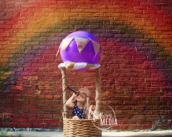 Baby, Toddler, Child, Hot Air Balloon Basket Photography Digital Backdrop Background Prop for Photographers - Children's Portrait Photo Prop