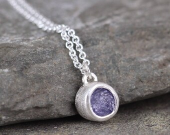 Tanzanite Bezel Set Pendant in Sterling Silver - Rustic Natural Uncut Tanzanite - Rough Raw Purple Gemstone Jewellery - December Birthstone