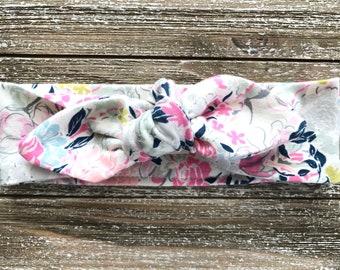 Pastel Floral Print Baby Headband - Top Knot Headband - Stretch Headband - Modern Boho Baby - Flowers - Bright Floral - Springtime Garden