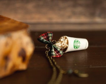 Starbucks Pumpkin Spice Latte Inspired Necklace / charm starbucks coffee / scented / food jewelry / autumn fall jewelry / christmas gift