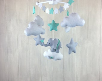 Baby mobile - elephant mobile - cloud mobile - star mobile - star banner - elephant nursery - mint and grey