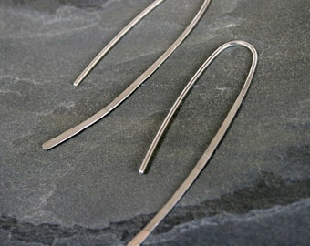Curve Sterling Silver Earrings, Modern Simplicity, Solid Sterling Silver, Clean Line Earrings