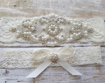 SALE - Wedding Garter, Bridal Garter, Garter Set - Crystal Rhinestone & Pearls - Style G8001IVO