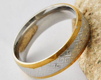 Gold and silver unisex ring Arabic geometric size 65
