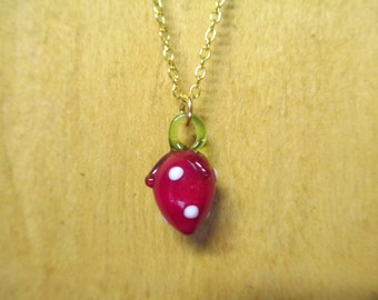 Vintage Glass Strawberry Charm Necklace DEADSTOCK