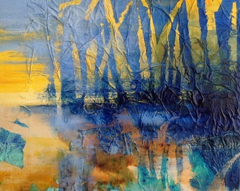Abstract waterscape, Ink, collage and acrylic on canvas. Original painting. Abstract landscape. Contemporary art.