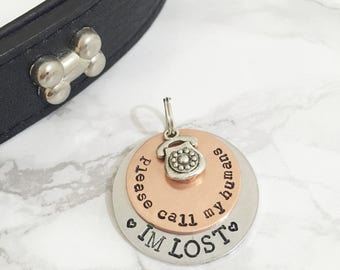 Dog Tag | Call My Humans Personalised Dog Tag - I'm Lost Pet Tag - Dog ID Tag