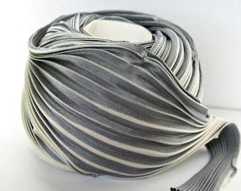 1 yd Shibori Girls Hand Dyed Silk Ribbon Lt Cool Ash (silver/black) Shibori Silk Ribbon