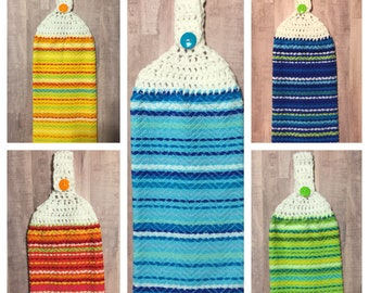 Crocheted Top Dish Towel - Woven Look, Light Blue Stripes, Yellow Stripes, Orange Stripes, Blue Stripes, Green Stripes