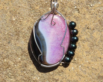 S-51 Dragon Vein Agate Wirewrapped Pendant Silver Wire, Gemstone Pendant, Agate Pendant, Gemstone Necklace, Agate Necklace