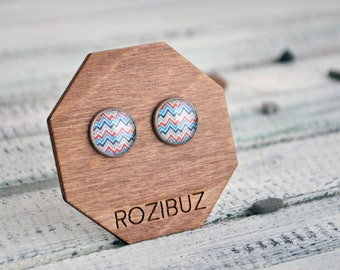 Chevron earrings stud - geometric earrings, zigzag earrings post, blue red chevron jewelry, nautical earrings, gift idea - made to order
