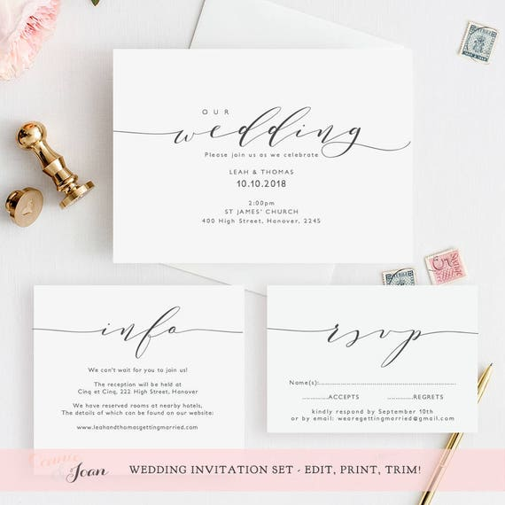 Evening Reception Invitation Printable Wedding Reception