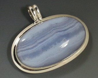 Lovely Blue Lace Agate and Sterling Silver Pendant
