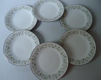 "Noritake 6 3/8"" Bread & Butter Dessert Plates Set of Six 6879 Wynwood 1967-1975 Japan Vintage"