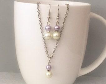Lavender bridesmaid necklace set, lavender necklace set, lavender bridesmaid jewelry, lavender necklace, glass pearl necklace