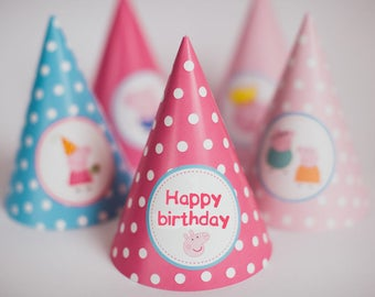 Peppa pig happy birthday party hats, peppa party, party paper decoration, Birthday Party Package, printables, printing party decor